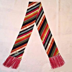 🆕NWT Coach Legacy Stripe Fringe Oblong Silk Scarf